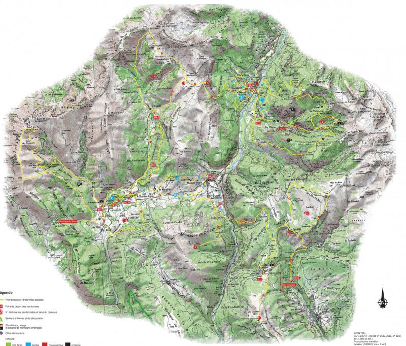 Carte de randonnées Haut Verdon Val d'Allos partie Sud